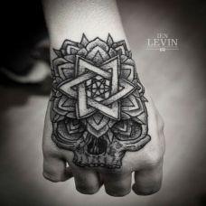 手背上的骷髅头六芒星纹身图案