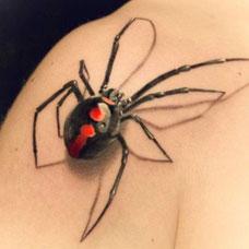 肩膀上的蜘蛛的纹身图案