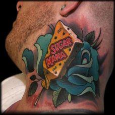 脖子上的玫瑰花雪糕纹身图案