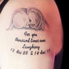 大臂上的小天使英文纹身图案