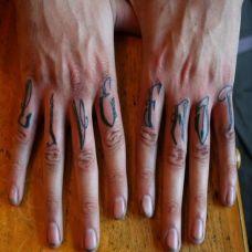 手指上的花体字英文字母纹身图案