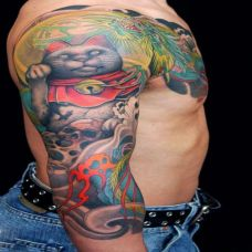 半胛龙与招财猫纹身图案