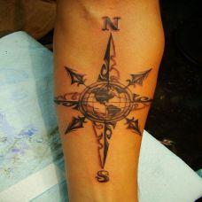 胳膊上的指南针纹身图案
