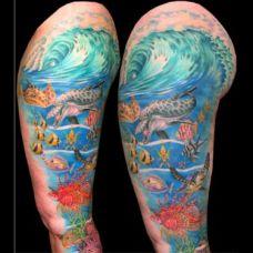 包大臂海底世界纹身图案