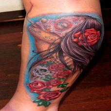 小臂上的deadgirl骷髅头纹身图案