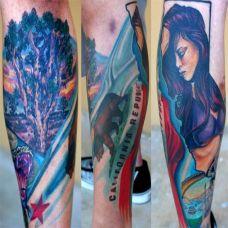 包小腿美女大树纹身图案