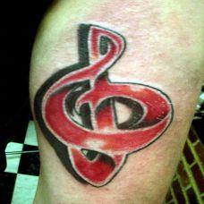 小腿上的音乐符号纹身图案
