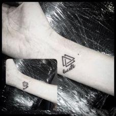 手腕上的英文三角形纹身图案