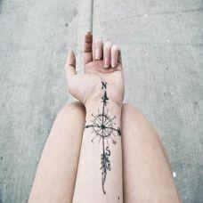 手腕上的指南针纹身图案
