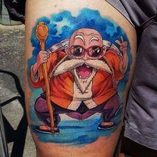 小腿上的龟仙人纹身图案