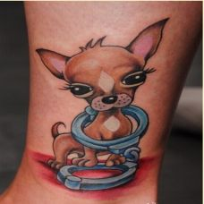 小腿上的小狗纹身图案