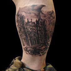 月色下的城堡纹身