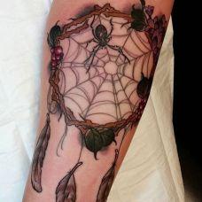 编织梦想,腿部3D风格蜘蛛捕梦网纹身