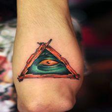胳膊上的三角眼睛纹身