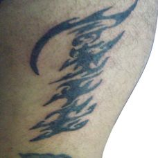 小腿上的鱼骨图腾纹身