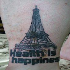 小腿上的埃菲尔铁塔纹身
