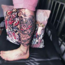 腿部霸气貔貅纹身图案