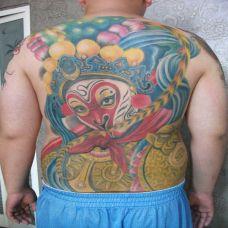 满背猴子纹身