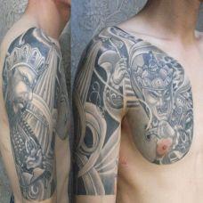 半胛四大天王纹身