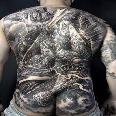 盖世神通,满背霸气二郎神纹身