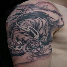 胳膊上的下山虎纹身