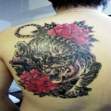 后背上的下山虎牡丹纹身