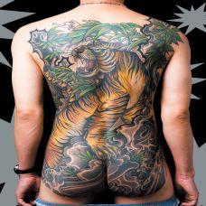 满背上山虎纹身