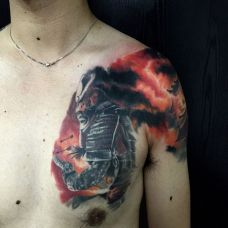 战火连天,半甲个性武士彩绘纹身