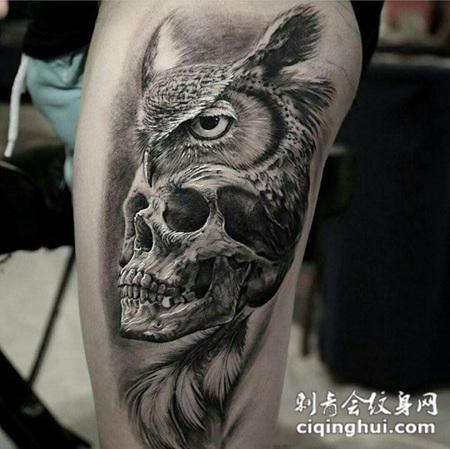 生命的价值,大腿猫头鹰与骷髅写实纹身