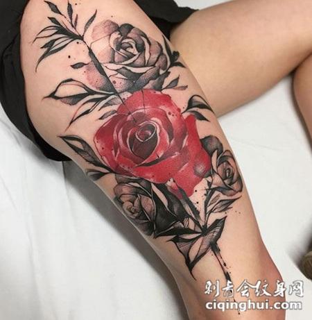 女人似花,大腿个性玫瑰花彩绘纹身