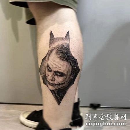恶之化身,小腿小丑肖像纹身图案