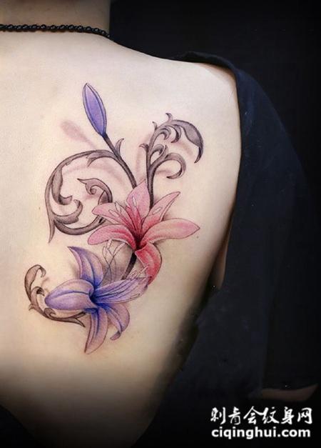 首页 纹身图案 花朵 百合花图片