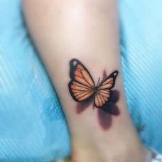 停留的美丽,小腿3d蝴蝶彩绘纹身
