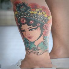 倾城佳人,小腿花旦彩绘纹身