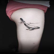 奔流入海,大腿个性鲸鱼纹身