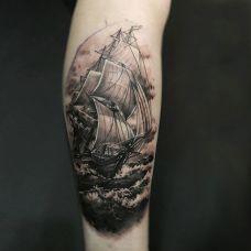 长风破浪会有时,小腿帆船个性纹身