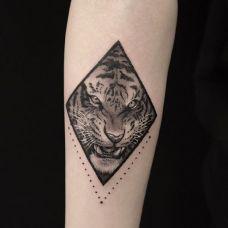 兽王低吼,手臂老虎个性纹身图案
