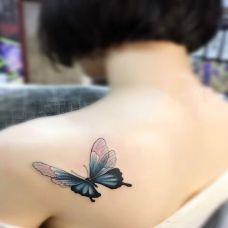破茧成蝶,后背好看的蝴蝶彩绘纹身