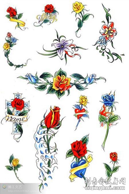 不同颜色玫瑰花手稿纹身素材