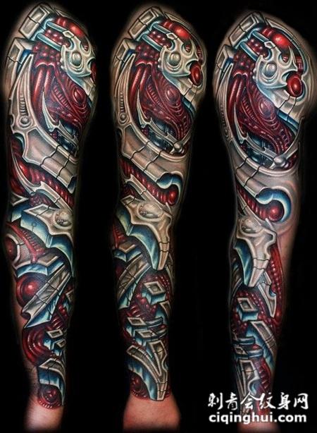 炫酷主宰 机械花臂纹身图案