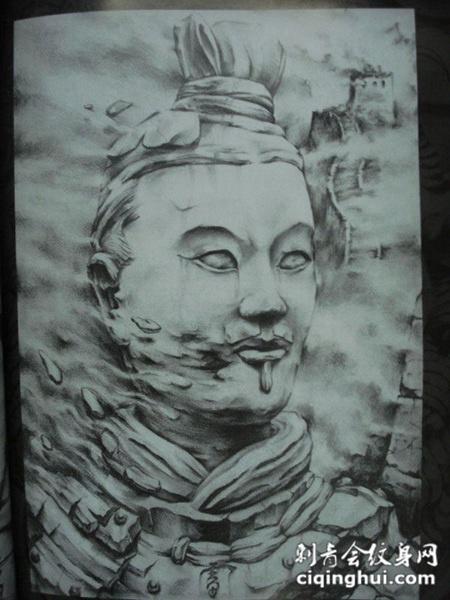 中国风的兵马俑纹身素材