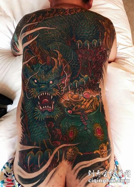 神兽送福,满背麒麟送宝彩绘纹身