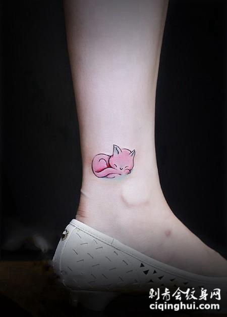 梦中天使,脚踝可爱小狐狸卡通纹身