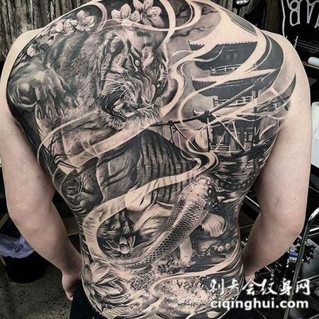 饿虎捕鱼,满背写实风格老虎创意纹身