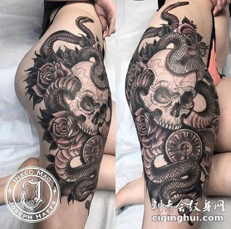 死亡纠缠,大腿骷髅与蛇个性纹身