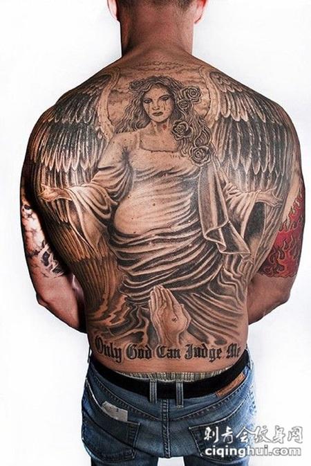 满背天使纹身 神圣的祝福