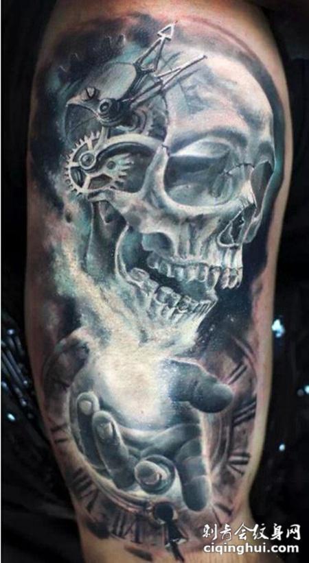 经典恐怖系列骷髅手臂纹身