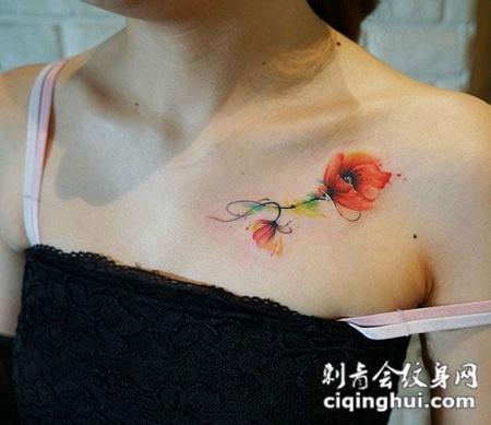 窒息之美,锁骨处好看的罂粟花彩绘纹身图片