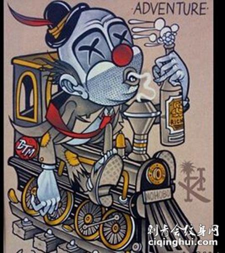 前卫骷髅小丑纹身素材
