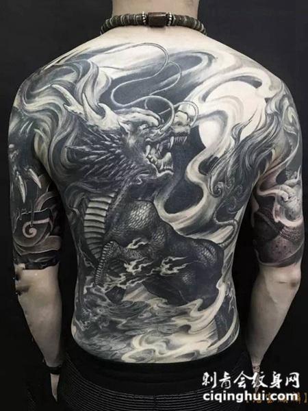 麒麟啸月,满背黑灰麒麟纹身图案